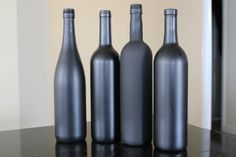 Spray Painted Wine Bottles | You'll see the difference between the glass bottles and the frosted ...