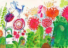"friendandjohnson: "" A bright flowery illustration by Jill Calder "" Illustrations, Illustration Art, Illustration Children, Mixed Media Artists, Sculptures, Watercolor, Visual Arts, Drawings, Creative"