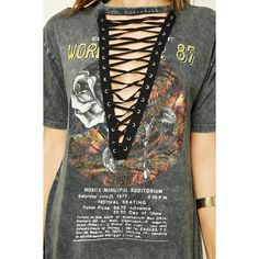Forever21 Lace-Up Tour Tee ($18) ❤ liked on Polyvore featuring tops, t-shirts, lace up tee, graphic print t shirts, short sleeve t shirt, laced up top and graphic t shirts