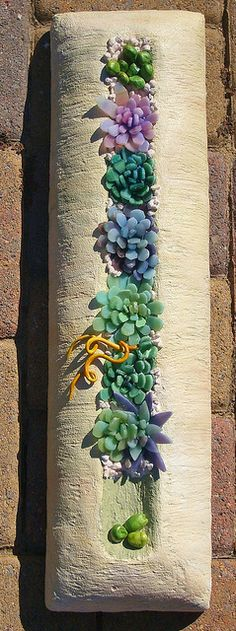 mosaic succulents by susiebarrymosaics, shallow concrete container for succulents