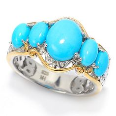 159-652 - Gems en Vogue Sleeping Beauty Turquoise 5-Stone Band Ring