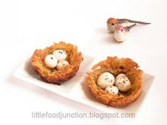 Birds Nests with eggs.....Potato Bowls N Nuts!