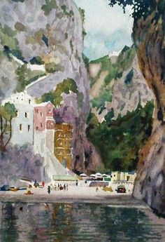 Amalfi Coast Watercolor 2004 by Tony Bennett - Watercolor Watercolor Landscape, Landscape Paintings, Landscapes, Tony Bennett, Art Paintings For Sale, Art For Art Sake, Amalfi Coast, Pictures To Paint, Famous Artists