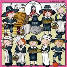 (Thanksgiving clip art)Pilgrims Clip Art set features 24 items: 12 clip arts in color. 12 clip arts in black & white.All images are 300 dpi, Png files.This clipart license allows for personal, educational, and commercial small business use. If using commercially, or in a freebie, credit to my store by a link is required and appreciated.