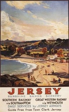 size: Art Print: Jersey, England - Southern/Great Western Railway Beach Scene Poster by Lantern Press : Artists England Travel Poster, Train Posters, Art Posters, Vintage Travel Posters, Poster Vintage, Travel Icon, Travel Tips, Southern Railways, Great Western