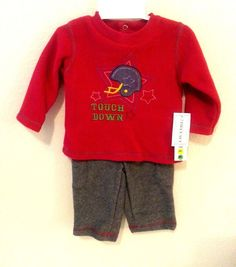 New w Tag Mayfair Touchdown Red Gray Fleece 3 Piece Outfit Set 3-6 Mo Baby Boy #Mayfair #Everyday
