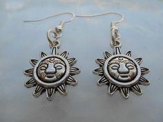 Tibetan Silver Mayan Sun Face Dangle Earrings by MysticMountainJewels on Etsy