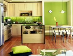 Green Wall Kitchen Kitchens With Green Walls With Awesome Light Green Kitchen Walls Taste Green Kitchen Wallpaper Light Green Kitchen, Green Kitchen Walls, Accent Wall In Kitchen, Paint For Kitchen Walls, Green Kitchen Decor, Apple Kitchen Decor, Kitchen Wall Colors, Green Walls, Kitchen Ideas