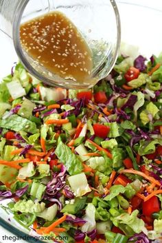 The Garden Grazer: Asian Chopped Salad with Sesame VinaigretteYou can find Salad recipes and more on our website.The Garden Grazer: Asian Chopped Salad with Sesame Vinaigrette Healthy Salad Recipes, Vegetarian Recipes, Cooking Recipes, Avocado Recipes, Chopped Salad Recipes, Vegetarian Salad, Kale Recipes, Lettuce Salad Recipes, Taco Salads
