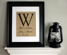 Monogram with Family Name, Name of Couple, and Year Established on Burlap - Personalized $15