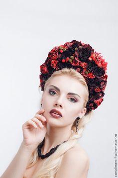 Купить Венок пышный, бордо - бордовый, венок из цветов, венок на голову, венок с цветами