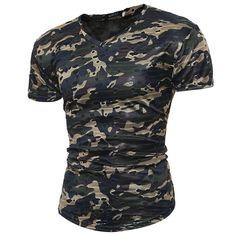 2017 Summer Top Tee Fashion Military Camouflage Short Sleeve Men T-shirt Ripped Hip Hop Streetwear T shirt Casual Thin Tshirt