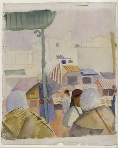 """August Macke (German, 1887-1914), Market in Tunis II, 1914. Watercolor over pencil on paper, 25.5 x 20.8 cm. """