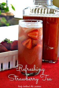 The flavor of summer. Serve this refreshing strawberry tea at your next luncheon, picnic or barbecue. *Ok, now there's another reason to visit Florida's Strawberry Fest! Refreshing Drinks, Summer Drinks, Cocktail Drinks, Non Alcoholic Drinks, Fun Drinks, Healthy Drinks, Healthy Recipes, Cocktails, Mixed Drinks