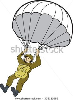 Illustration of an American World War two paratrooper soldier serviceman with parachute on isolated white background done in cartoon style.   #paratrooper #veteran #cartoon #illustration