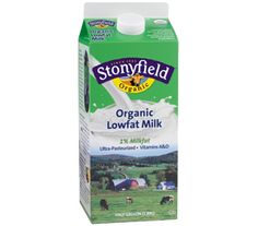 Stonyfield organic lowfat (1%) milk comes comes from organic family farms, so it's free of pesticides, antibiotics, hormones and other things you don't want.  Get health information.  #Stonyfield