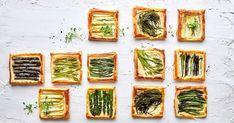 Als kleine Mahlzeit, als Vorspeise für Gäste oder als Fingerfood auf einem Buffet machen sich Blätterteig-Tartelettes mit verschiedenen Spargeln sehr gut. Nutrition, Buffet, Zucchini, The Creator, Vegetables, Desserts, Youtube, Oven Cooking, Kitchens