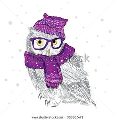 Owl in a cap and scarf were drawn by hand. Owl vector . Bird clothing. Glasses. - stock vector