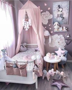 Little girls room - Girl's Clothes - Kinderzimmer Baby Bedroom, Baby Room Decor, Nursery Room, Room Decor Bedroom, Bedroom Ideas, Canopy Bedroom, Bedroom Setup, Canopy Crib, Baby Canopy