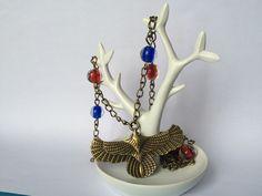 Parure collier sautoir et boucles d'oreilles en métal bronze avec grand aigle et perles rouge et bleues : Parure par alterperles