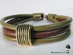 Leder Armband oliv und braun mit Metallelement  von Bijouxbaron_24 auf DaWanda.com