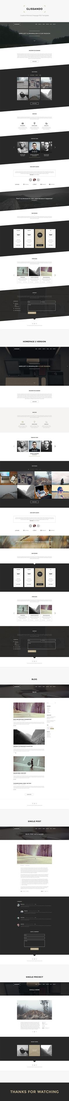 Glissando – Creative Minimal Onepage PSD Template on Behance