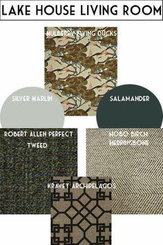 Lake House Living Room design scheme w/ Mulberry Flying Ducks fabric, Benjamin Moore Silver Marlin and Salamander, tweed/herringbone prints and Kravet Archipelagos