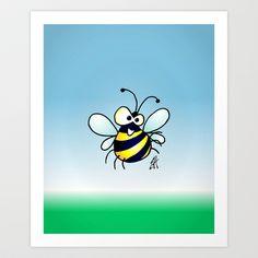 Buy Bumbling Bee by Cardvibes.com - Tekenaartje.nl as a high quality Art Print. Worldwide shipping available at Society6.com. #Cardvibes #Tekenaartje #Society6 #spring