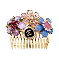 Chanel      #Chanel - This would make a great DIY project, find some old costume jewelry and glue to gold hair comb