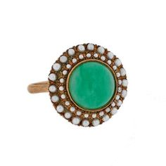 Victorian 14kt Gold Pearl & Cabochon Jade Ring