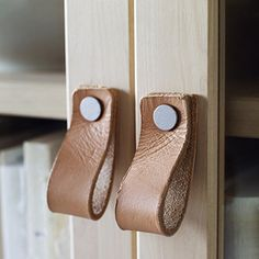 Swap out IKEA cabinet door pulls with leather straps Ikea Nornas, Ikea New, Ikea Dresser, Pivot Doors, Ikea Cabinets, Home Organisation, Diy House Projects, The Way Home, Knobs And Handles