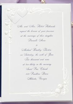 The beautiful embossing of hearts with pearl roses and ribbons on the border set a romantic tone for your day. This invitation is perfect in any color ink or envelope liner to coordinate with your day. Thor's Daughter, Heart Wedding Invitations, Envelope Liners, Photo Cards, Holiday Cards, Marriage, Place Card Holders, Romantic, Ribbons