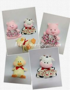 Cute Clay, Clay Animals, Cute Charms, Pasta Flexible, Felt Flowers, Biscuits, Hello Kitty, Teddy Bear, Christmas Ornaments