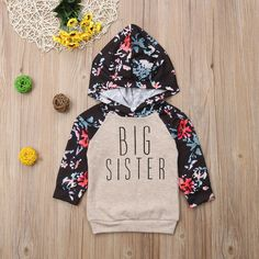 Little Sister Big Sister Match Clothes Kids Hooded Sweatshirt Baby Gir – shopbabyitems Big Sister Little Sister, Little Sisters, Little Girls, Lil Sis, Floral Sleeve, Baby Girl Romper, Girls Rompers, Matching Outfits, 6 Years