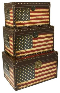 Decorative Trunks, Antique Trunks, Storage Trunk, American Flag, Flags,  Chest, Antiques, Home Home, Home Decor