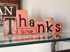 Give Thanks wooden blocks by BoardsbyKelly on Etsy