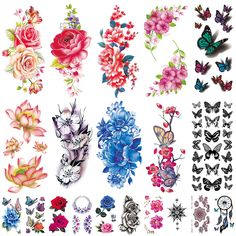 20 Sheets Flowers Temporary Tattoos Stickers, Roses, Butterflies and Multi-Colored Mixed Style Body Art Temporary Tattoos for Women, Girls or Kids ** To view further for this item, visit the image link. (As an Amazon Associate I earn from qualifying purchases)