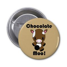 Chocolate Moo Kawaii Cow button