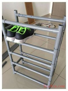 Shoe rack organizer with PVC pipe ::OrganizingMadeFun. Shoe rack organizer with PVC pipe ::OrganizingMadeFun… Pvc Pipe Crafts, Pvc Pipe Projects, Diy Pipe, Welding Projects, Diy Crafts, Pvc Shoe Racks, Diy Shoe Rack, Homemade Shoe Rack, Shoe Rack Organization
