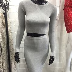 Raquel- gray ribbed set Loving this two piece knitted set, perfect for the Fall weather.  * Soft Knitted material  * Stretchy, not see through  * Midi length skirt  * Long sleeve top  * Runs true to size, model is wearing size small  * 65% Rayon 35% Spandex  * Imported  ❤️Insta: @claudiakprado  Snap: shoptherunway Rehab Dresses