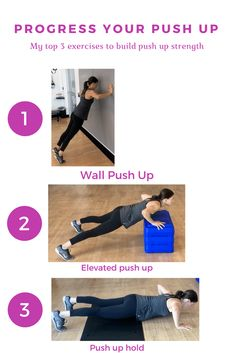 Fitness Motivation : Illustration Description Learn the 3 best exercises to improve your push up. push up challenge – how to do a push up – beginner push up – push up workout -Read More – Push Up Challenge, Workout Challenge, Thigh Challenge, Plank Challenge, Lifting Workouts, Fun Workouts, Monthly Workouts, Body Workouts, Push Up Beginner