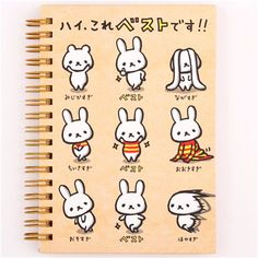 Japanese brown funny rabbits ring binder notebook by Kamio