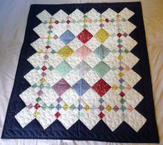 Amish Infant or Baby Quilt - Traditional 9 Patch Pattern with Interesting Navy Border