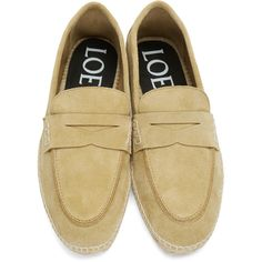 Loewe Tan Suede Espadrille Loafers ($425) ❤ liked on Polyvore featuring men's fashion, men's shoes, men's loafers, mens woven loafer shoes, mens woven shoes, suede tassel loafers mens shoes, mens tan suede shoes and mens tan shoes