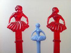 Ballet Theme Swizzle Sticks  Red Swizzle Stick Trio  by LAklassisk,