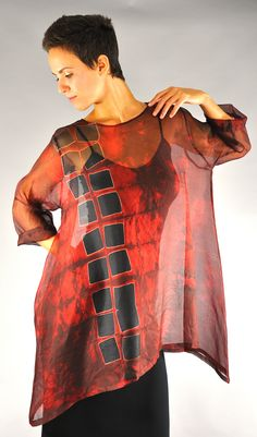 Red Vertical Squares  Silk Organza orchid pullover  Large on small model    http://michaelkanestudio.com