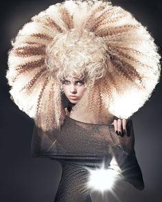 A long blonde straight wavy crimped coloured avant garde spikey hairstyle by Anne Veck Hair Crazy Hair, Big Hair, Short Hair, High Fashion Hair, Avant Garde Hair, Hair Locks, Fantasy Hair, Hair Shows, Creative Hairstyles