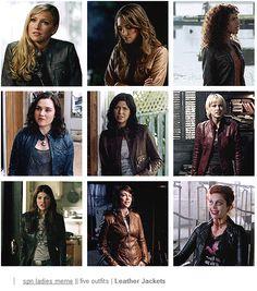 Ruby 1.0, Bela, Cassie, Meg 2.0, Lisa, Meg 1.0, Ruby 2.0, Jody, and Abaddon ||| Supernatural Women + Leather Jackets