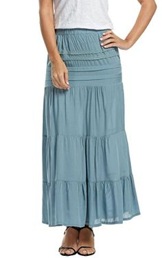 11853db5b4 Meaneor Women's Elegant Full Length High Waist Peasant Bohemian Gypsy Maxi  Skirt Blue S