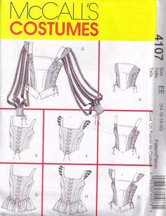 McCalls 4107 Sewing Pattern Corset  Renaissance Medievil  Halloween Costume  Plus Size 14, 16, 18, 20. $5.00, via Etsy.